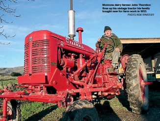 ?? PHOTO: ROB TIPA/STUFF ?? Momona dairy farmer John Thornton fires up his vintage tractor his family bought new for farm work in 1953.
