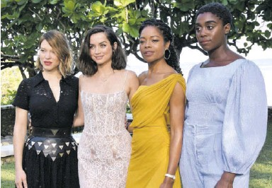 ?? (Photo: Nor­man Thomas) ?? Bond girls Léa Sey­doux, Ana de Armas, Naomie Har­ris, and Lashana Lynch at the film's 25th in­stal­ment launch at Golden Eye in St Mary in April 2019.