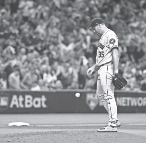 ?? GETTY IMAGES ?? Houston Astros starter Justin Verlander is pulled in the fourth inning Tuesday night after getting roughed up by the Rays in Game 4 of the ALDS. Find game coverage on jsonline.com/sports.