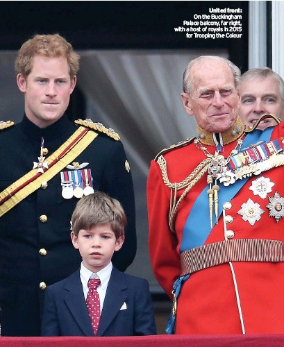 ??  ?? United front: On the Buckingham Palace balcony, far right, with a host of royals in 2015 for Trooping the Colour