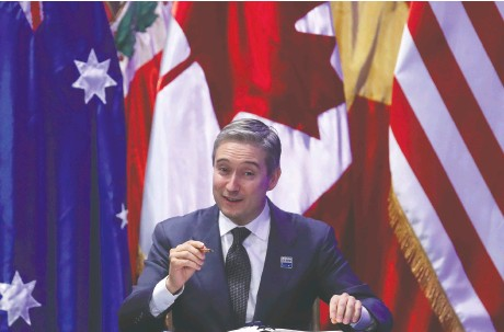 ?? MARIO RUIZ / EPA ?? Canada's Trade Min­is­ter François-philippe Cham­pagne is­sued a joint state­ment with his Bri­tish and Aus­tralian coun­ter­parts con­demn­ing China's dra­co­nian na­tional se­cu­rity leg­is­la­tion in Hong Kong. All four