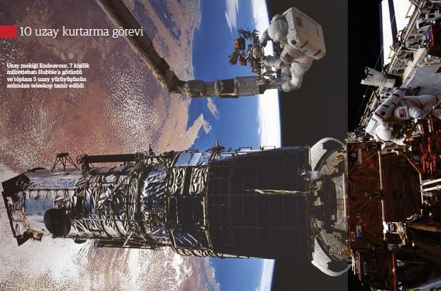 ??  ?? Uzay mekiği Endeavour, 7 kişilik mürettebatı Hubble'a götürdü ve toplam 5 uzay yürüyüşünün ardından teleskop tamir edildi