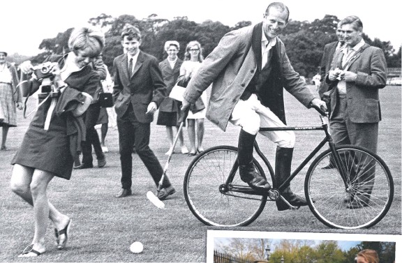??  ?? Prince Philip practising his bicycle polo technique at Windsor Great Park; with the Queen (below); mourners outside Windsor Castle (right).