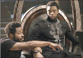 "?? Matt Kennedy Marvel Stu­dios ?? RYAN COOGLER, left, di­rects Chad­wick Bose­man in ""Black Pan­ther."" A new study shows a his­toric in­crease in black di­rec­tors helm­ing Hol­ly­wood's top films."
