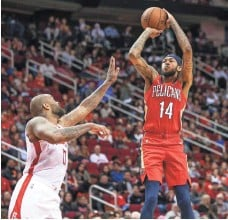 ?? TROY TAORMINA/USA TODAY SPORTS ?? Brandon Ingram is averaging 27.3 points through three games in his first season with the Pelicans after being packaged by the Lakers in the Anthony Davis trade.