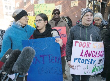 ?? MARK VAN MANEN/PNG ?? Michael Desbiens, right, is one of several people directly affected by the rent increase at Ross House, which will raise rents by at least $200. Left, Aurora Dunkley-Johnson speaks out on Monday about being evicted.