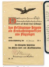 ??  ?? ■ A pre-war certificate for observer qualification.