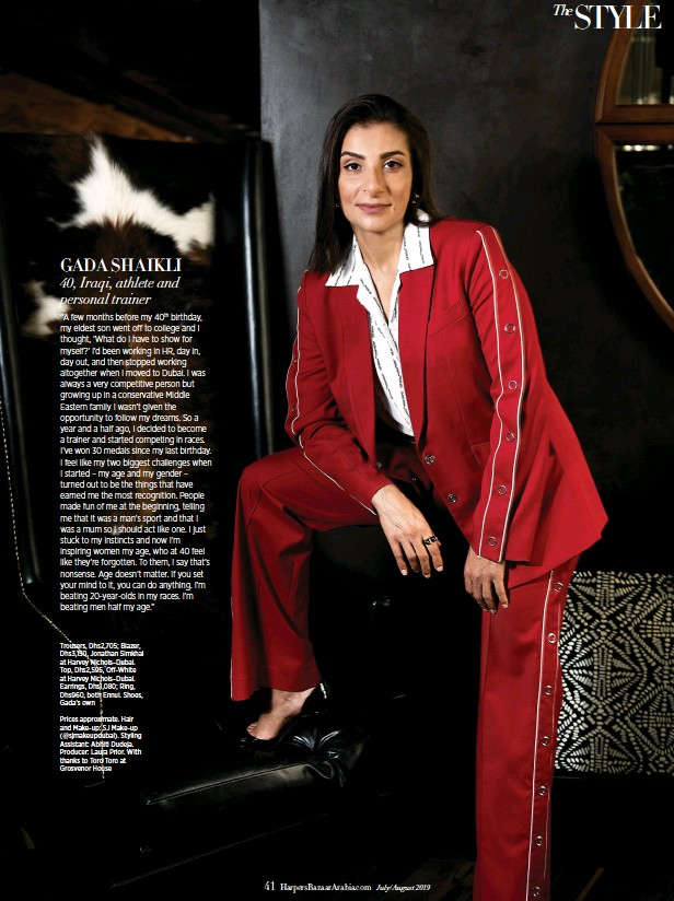??  ?? Trousers, Dhs2,705; Blazer, Dhs3,150, Jonathan Simkhai at Harvey Nichols–Dubai. Top, Dhs2,595, Off-White at Harvey Nichols–Dubai. Earrings, Dhs1,080; Ring, Dhs960, both Ennui. Shoes, Gada's own Prices approximate. Hair and Make-up: SJ Make-up (@sjmakeupdubai). Styling Assistant: Abhiti Dudeja. Producer: Laura Prior. With thanks to Toro Toro at Grosvenor House