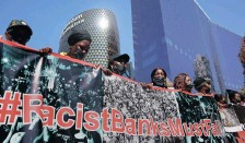 ?? TIMOTHY BERNARD ?? SCORES of #RacistBanksMustFall protesters participate in a march to the banking precinct in Sandton City to make their voices heard. | African News Agency (ANA)