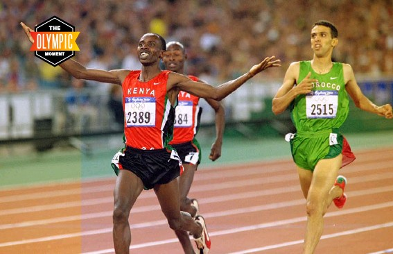 ??  ?? ↑ Noah Ngeny of Kenya beats El Guerrouj to the line to win the 1500m final in the Sydney Olympic Games, 2000 → El Guerrouj could scarcely believe he had lost the 1500 final in the Sydney Games. It was 'a defeat from which he may never recover', said The Guardian