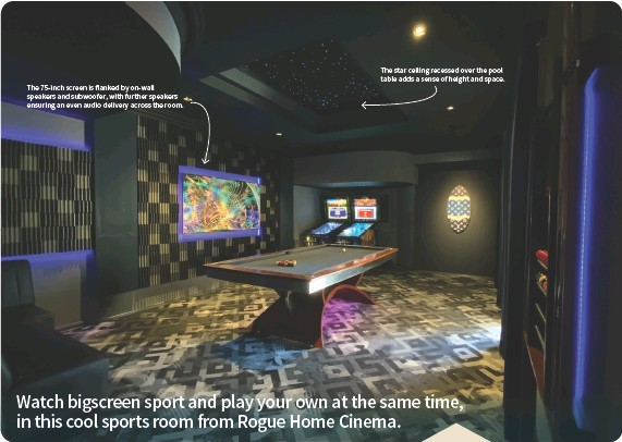 ??  ?? The 75-inch screen is flanked by on-wall speakers and subwoofer, with further speakers ensuring an even audio delivery across the room. The star ceiling recessed over the pool table adds a sense of height and space.