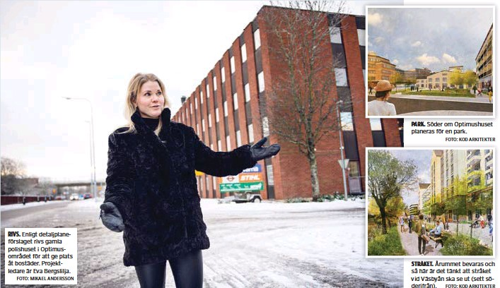 ?? FOTO: MIKAEL ANDERSSON ?? RIVS. Enligt detaljplaneförslaget rivs gamla polishuset i Optimusområdet för att ge plats åt bostäder. Projektledare är Eva Bergslilja.
