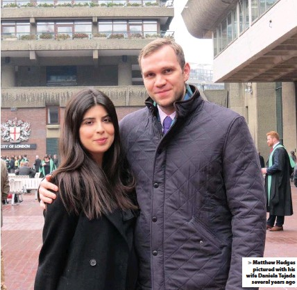 ??  ?? Matthew Hedges pictured with his wife Daniela Tejada several years ago