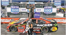 ?? STEVE HELBER/AP ?? Martin Truex Jr., the guy who couldn't buy a short-track win back in the day, now owns three grandfather clocks.