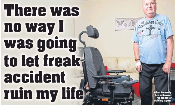 ??  ?? Ian Kennedy has achieved his dream of walking again.