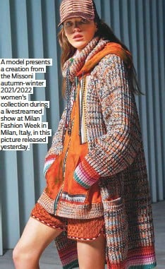??  ?? A model presents a creation from the Missoni autumn-winter 2021/2022 women's collection during a livestreamed show at Milan Fashion Week in Milan, Italy, in this picture released yesterday.