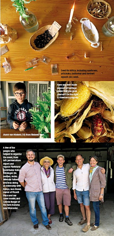 ??  ?? Seed for Africa, including sunflower, artichoke, butternut and Herbert squash (sic) seed. A few of the people who helped to organise the event, from left: permaculture expert and regular Platteland contributor Kobus Kritzinger; his mother, Ansie;...