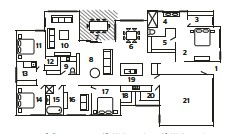 ??  ?? 1. Entry 2. Master bedroom 3. Walk-in robe 4. Ensuite 5. Walk-in robe 6. Dining area 7. Alfresco 8. Living area 9. Powder room 10. Playroom 11. Bedroom 12. Walk-in robe 13. Laundry 14. Bedroom 15. Bathroom 16. Study 17. Guest room 18. Walk-in robe 19. Kitchen 20. Butler's pantry 21. Garage