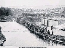 ?? POSTER IMAGE ?? Rennie's Mill pool opening in 1928.