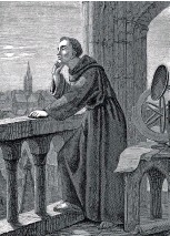 ??  ?? Roger Bacon stargazing at Oxford