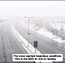 ??  ?? The snow sparked hazardous conditions - this is the M20 at J11a on Sunday
