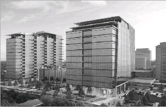 ?? HKS ?? The project in the Preston Center district will include a 225,000-square-foot office building and a separate tower with 128 luxury multifamily units.