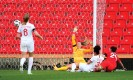 ?? Photograph: Catherine Ivill/Getty Images ?? Canada's Evelyne Viens opens the scoring past Carly Telford of England.