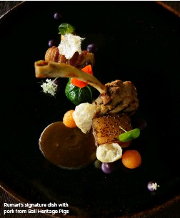??  ?? Rumari's signature dish with pork from Bali Heritage Pigs