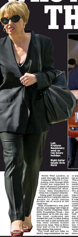 ??  ?? Left: Krystyna Ruszkiewicz went on two luxury holidays Right: Guitar fanatic Chris Hurst