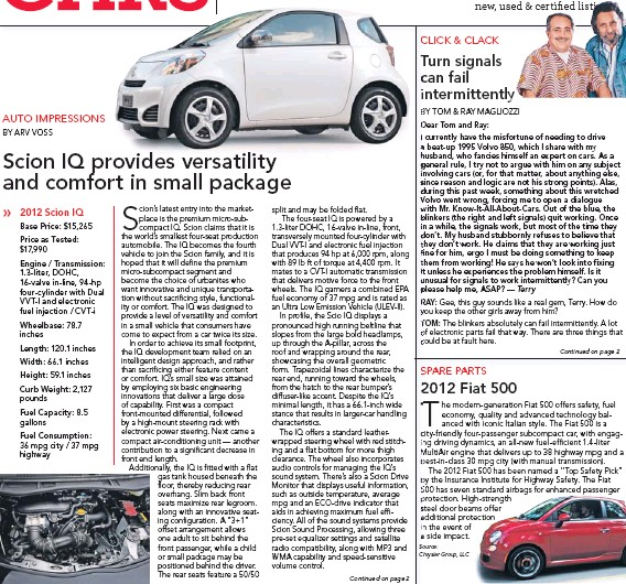 Pressreader San Francisco Chronicle 2011 12 30 Scion Iq