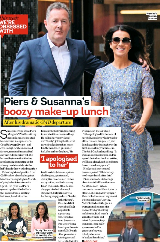 """??  ?? """"Frosty"""" Susanna and Ranvir Singh the morning after Piers walked out Hope he's paying, Susanna"""