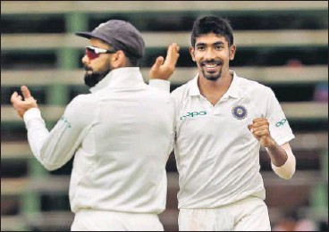 ??  ?? Jasprit Bumrah's haul on Day Two got India back in the third Test after South Africa were dismissed for 194 on Thursday.