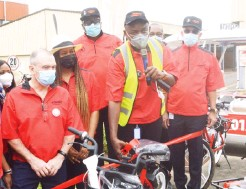 ??  ?? From left: Paul Harriman, CEO, Egbin Power PLC; Pearl Uzokwe, Director, Governance & Sustainability, Sahara Group; Kola Adesina, Director, Egbin Power; Tope Shonubi, Chairman, Board of Directors, Egbin Power, and Ade Odunsi, a Director, during the launch of Egbin Electric Buggies & Bicycles at the facility in Ijede-Ikorodu, Lagos yesterday.