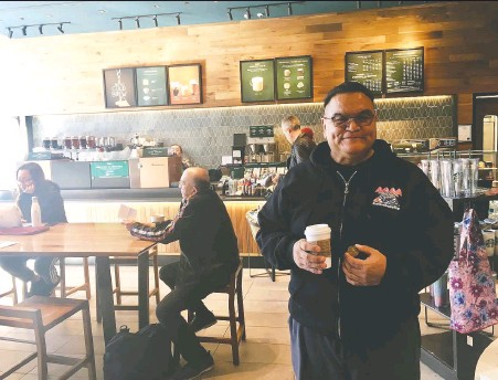 ??  ?? Phillip Tallio enjoyed his first visit to a Starbucks coffee shop after spending almost 37 years in jail for the murder of a child he now says he didn't do.