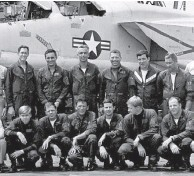 ??  ?? RVAH-6 flight crews on Enterprise. Far right, Box standing, Tiny kneeling. (Photo courtesy of the author)