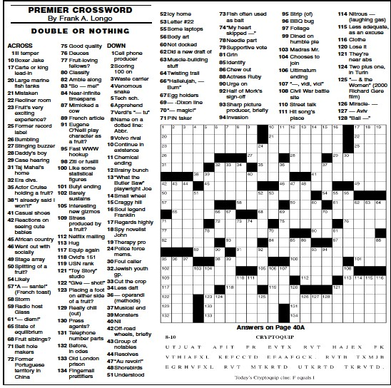 Pressreader Chicago Sun Times 2008 08 10 Premier Crossword