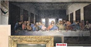 ??  ?? Freskó A milánói Santa Maria delle Grazie-kolostor freskója, Az utolsó vacsora szintén világhírű lett