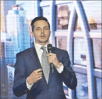 ??  ?? Richard Jordan from Douglas Elliman Real Estate introduces 30 E 31 during The Wealth Report 2018 launch in Manila