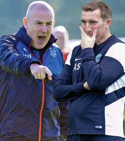 ??  ?? The heat of battle: Stubbs (right) got the better of Warburton when the teams met earlier this month
