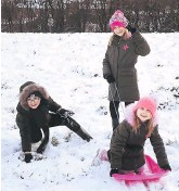 ??  ?? ●● Dylan, Rosalie and Willow take advantage of snow in Bacup