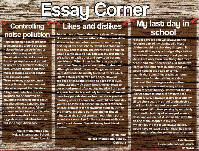 Pressreader  Daily Mirror Sri Lanka   Essay Corner My Last Day In School Will Always Be Sad I Would Have To Leave The Fun  That I Had With My Friends During The Golden Years Of School Essay Examples For High School also How To Start A Synthesis Essay English As A Second Language Essay