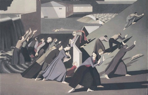??  ?? Evocative: Winifred Knights's The Deluge. Left, the artist in her studio at the British School in Rome in 1923