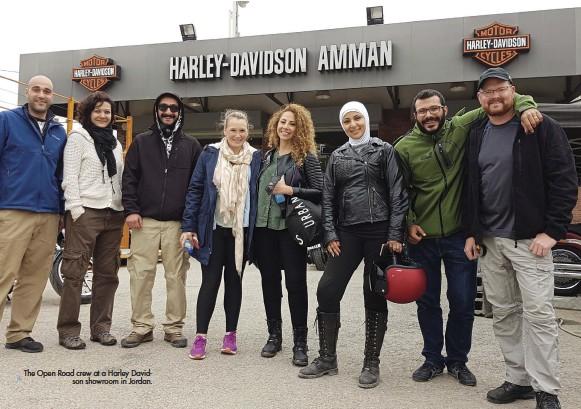 ??  ?? The Open Road crew at a Harley Davidson showroom in Jordan.