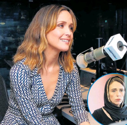 ?? Photos / File ?? Rose Byrne says she is excited to play Jacinda Ardern, inset.