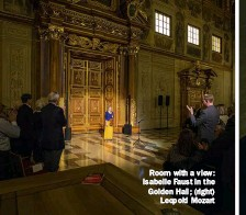 ??  ?? Room with a view: Isabelle Faust in the Golden Hall; (right) Leopold Mozart