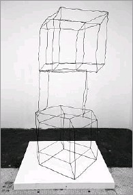 """??  ?? Stacked Hypercube Drawings (One Incomplete) is part of Meier's """"The Difference Between a Duck"""" exhibit."""