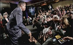 """?? Robert Gauthier Los Angeles Times ?? LARRY ELDER greets supporters at his election night party in Costa Mesa. A GOP activist calls him """"the leader of the resistance in California."""""""