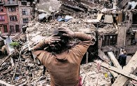 ??  ?? Aftershocks have hampered recovery missions as locals, officials and aid workers attempt to recover bodies from the rubble following a 7.8-magnitude earthquake Saturday in Kathmandu, Nepal.