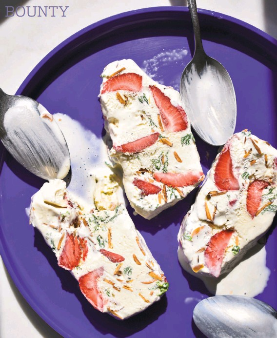 """?? Christian Reynoso ?? With its abundance of fresh fruit, nuts and fresh mint gently folded into ice cream, this nopastry """"cake"""" resembles Italian terrazzo tiles."""