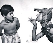 ??  ?? Mover and shaker: Khan, top, and members of English National Ballet, left, during rehearsals for new show Creature. Khan as a boy in the Adventures of Mowgli tour in 1984, above